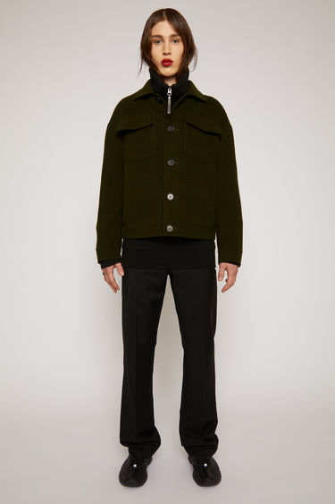 Acne Studios hunter green jacket is crafted from double-faced wool twill to a boxy silhouette with dropped shoulders and features two buttoned chest pockets, side pockets and point collar.
