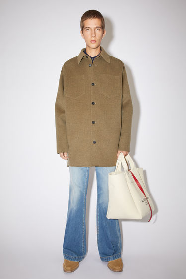 Acne Studios oyster grey double face shirt jacket is made of wool with multiple pockets.