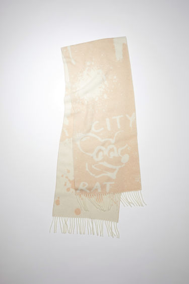 Acne Studios beige long rectangular scarf is made of a wool blend featuring a Welcome to Stockholm jacquard design.