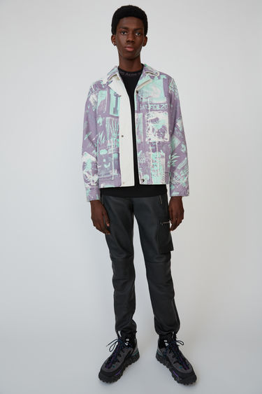 Acne Studios lilac/green cotton twill jacket featuring faded fanzine prints.