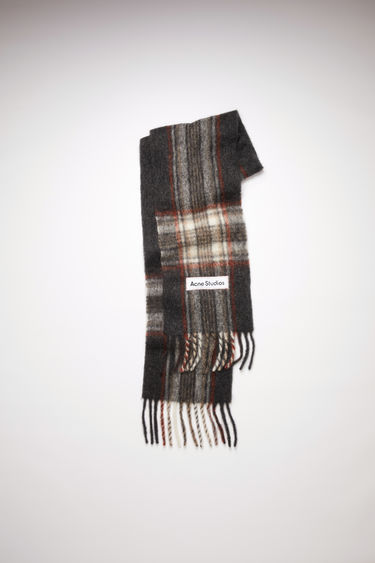 Acne Studios anthracite grey tartan check scarf is made of an alpaca blend with fringed ends.