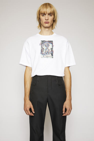 Acne Studios optic white t-shirt is cut to a boxy shape from lightweight jersey and printed 'Summer Solstice' in a handwritten-style on front.