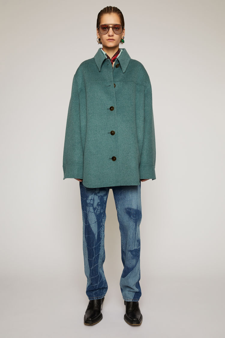 Acne Studios Tops DOUBLE-FACED OVERSHIRT TEAL BLUE MELANGE