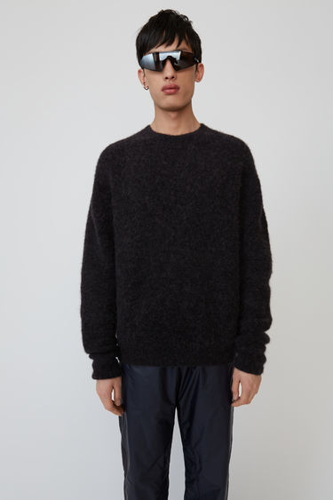 Acne Studios anthracite grey classic fit crewneck pullover with ribbed cuffs, hem and neckline.