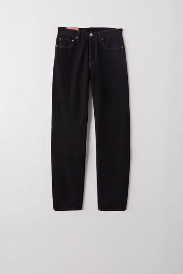 Acne Studios Blå Konst 1997 black metal are classic fit, 5-pocket jeans with a regular length and high waist.