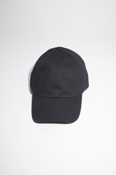 Acne Studios black 6 panel baseball cap is made of a light cotton twill with a tonal face patch.