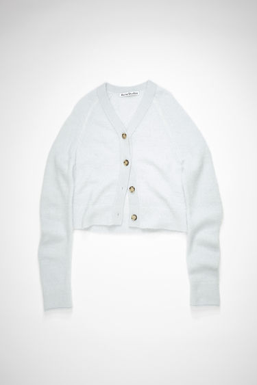 Acne Studios ice blue v-neck cardigan sweater is made of a soft, luxurious alpaca blend with front button closures.
