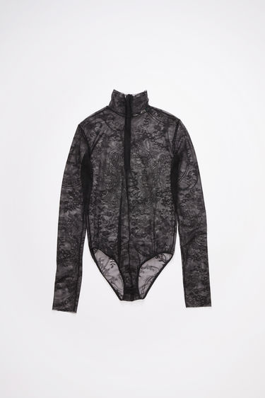 Acne Studios black long sleeve bodysuit is made of logo jacquard stretch lace with a high neck and fitted silhouette.