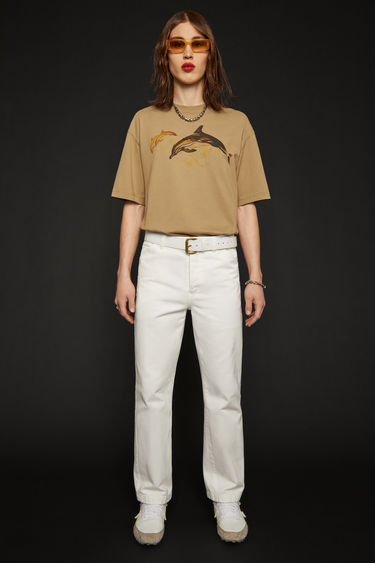 Acne Studios off white trousers are crafted to a relaxed silhouette with straight legs from stonewashed cotton-twill and finished with belt loops, slanted front pockets and two back patch pockets.