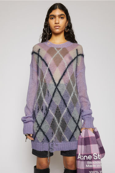 Acne Studios lilac/multi sweater is knitted in argyle jacquard pattern from wool and mohair yarns to enhance the contrast of textures. It's crafted to a slightly oversized silhouette and features gentle distressing across the body.