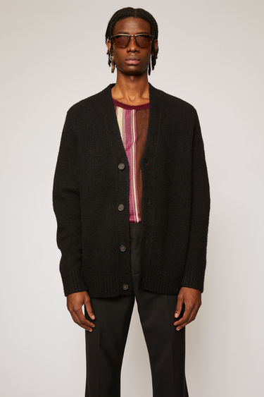 Acne Studios all black cardigan is shaped to a relaxed fit with dropped shoulder seams.