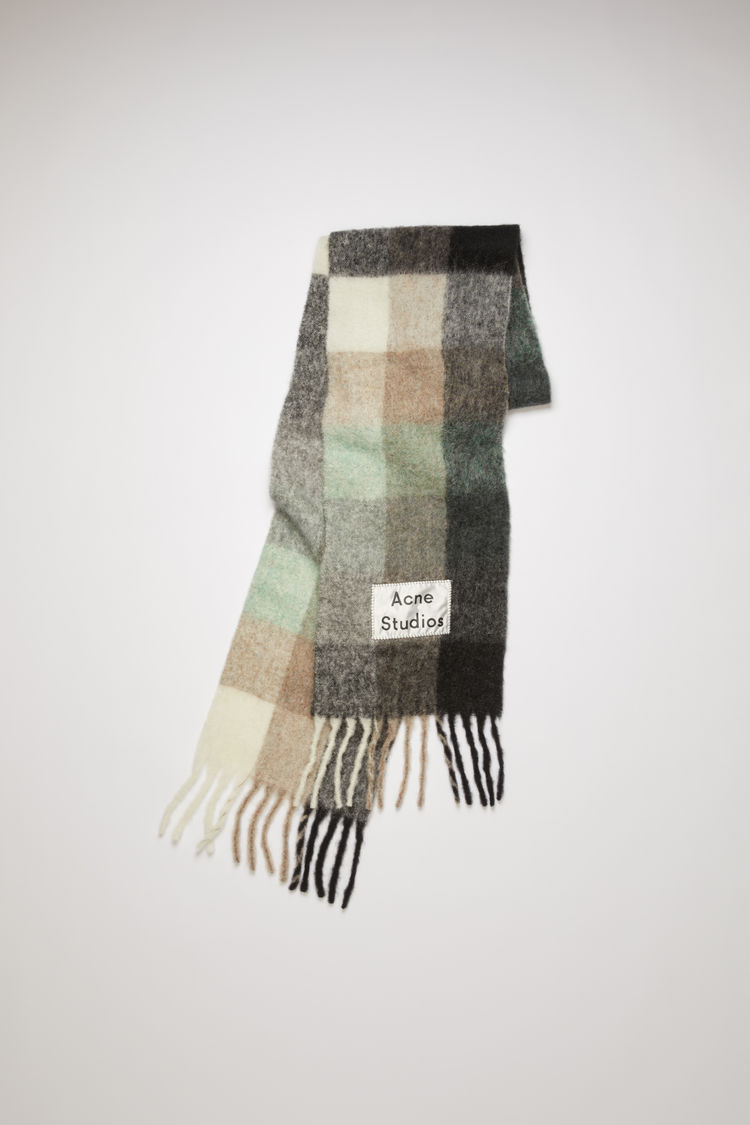 Multi Check Scarf Green/Grey/Black by Acne Studios