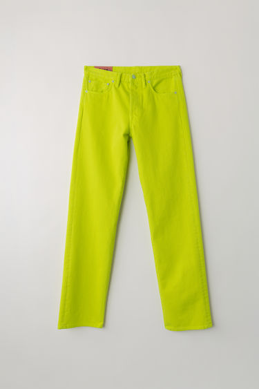 Acne Studios Blå Konst 1996 Reactive Dye Lime Green jeans are cut to sit high on the waist with a straight fit from the hips and finished with a classic five-pocket construction.