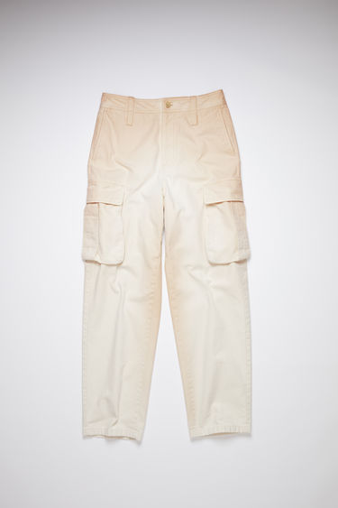 Acne Studios ecru beige cargo pants are made of cotton with wide legs and multiple pockets