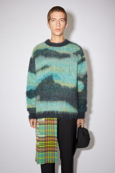 Acne Studios multi navy crew neck sweater is made of a mohair/alpaca blend, featuring a abstract jacquard design in tonal colours for a rainbow effect.