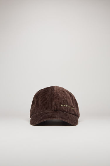 Acne Studios coffee brown corduroy cap is shaped to a six-panel silhouette and completed with an embroidered logo on front.