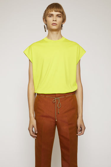 Acne Studios sharp yellow t-shirt is cut to a boxy shape from lightweight jersey and shaped with a round neck and cap sleeves.
