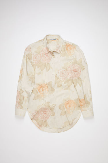 Acne Studios peach orange sleeve shirt is made of a striped cotton blend, featuring a subtle large scale floral print.