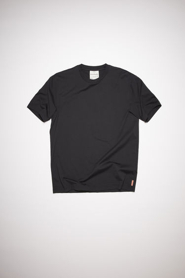 Acne Studios black high neck t-shirt is made of cotton, featuring an Acne Studios logo tab on the lower side.
