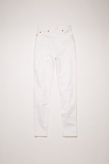 Acne Studios 1994 White jeans are crafted from comfort stretch denim and shaped to a super high-rise silhouette with slim-fitting legs.
