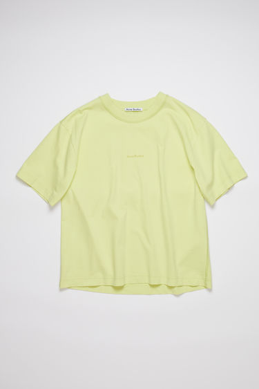 Acne Studios lemon yellow short sleeve t-shirt features a ribbed crew neck and an Acne Studios logo at the chest.
