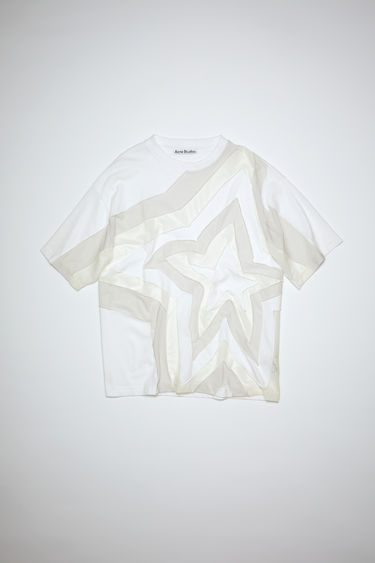 Acne Studios white crew neck t-shirt is made of cotton with a patchwork design on the front. In collaboration with Ben Quinn.
