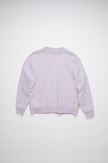 Acne Studios lavender purple long sleeve sweatshirt features ribbed details and an Acne Studios logo tab.