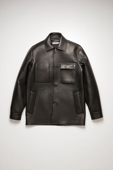 Acne Studios black chore jacket is crafted from grained lamb leather with a jersey backing and accented with an array of pockets, ranging from welt to patch style.
