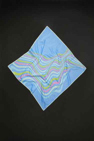 Acne Studios bright blue square bandana scarf is made of a cotton/silk blend, featuring psychedelic striped artwork.