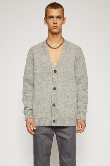 Acne Studios medium grey cardigan is knitted from a soft wool and cashmere blend with a v-neck and four-button closure.