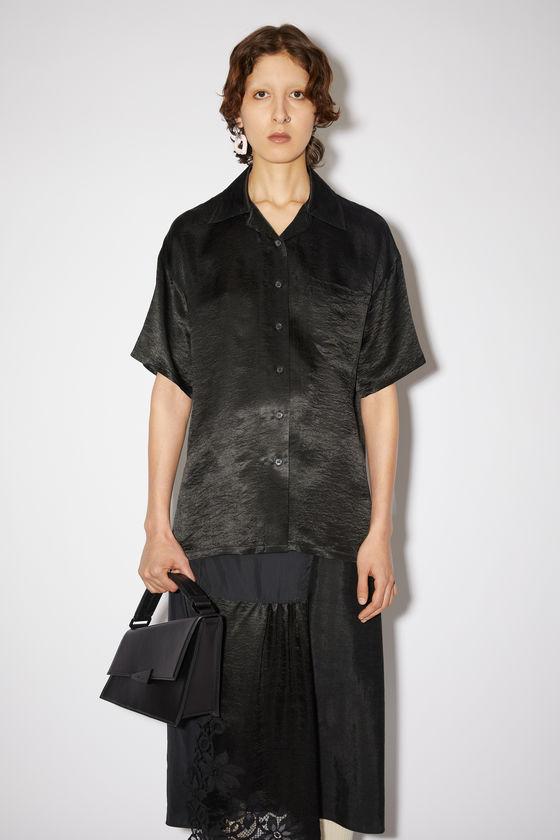 아크네 스튜디오 셔츠 Acne Studios Hammered satin shirt - Black