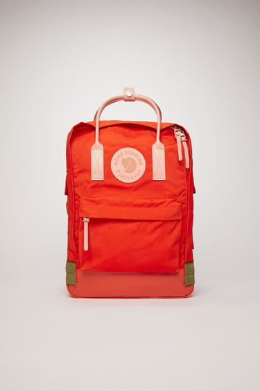 "Acne Studios Kånken Tarpaulin A/F deep orange is a variant on the Kånken 15"" laptop bag, updated with luxury finishes. A collaboration between Fjällräven and Acne Studios, with co-branded details."