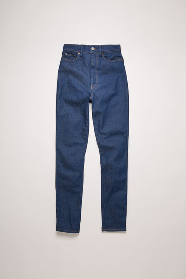 Acne Studios 1994 Indigo jeans are crafted from comfort stretch denim with tobacco stitching and shaped to a super high-rise silhouette with slim-fitting legs.