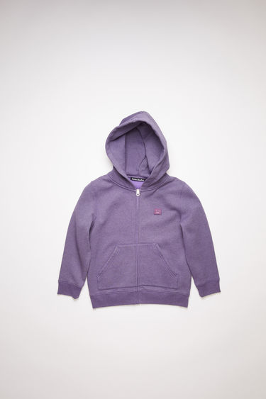 Acne Studios children's electric purple oversized hooded sweatshirt is made of organic cotton with a face logo patch and ribbed details.
