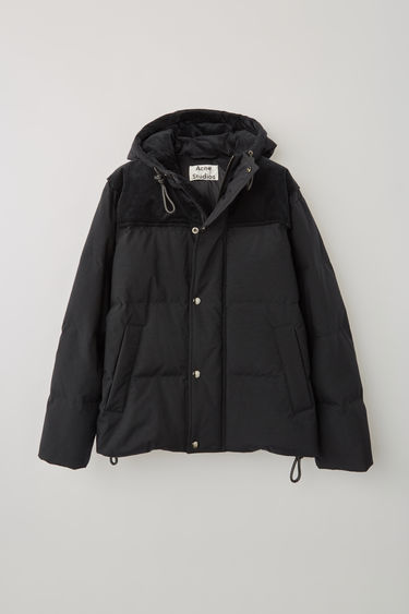 Acne Studios black boxy fit hooded blouson finished with hidden ribbed cuff and internal technical drawcord.