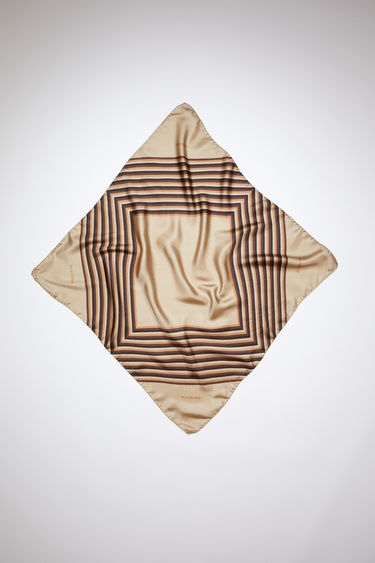 Acne Studios mushroom beige square-shaped foulard scarf is made of silk, featuring a square-striped print.