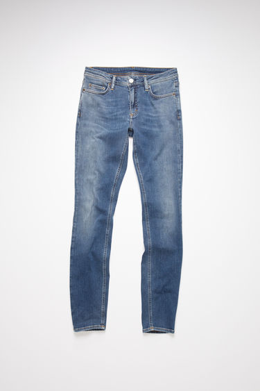 Acne Studios mid blue jeans are made from super stretch denim with a mid rise and a skinny leg.