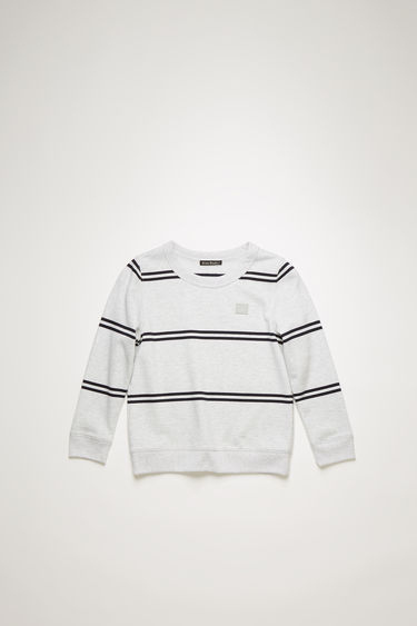 Acne Studios Mini Fairview Str F pale grey melange sweatshirt is crafted from brushed fleece and patterned with spaced stripes.