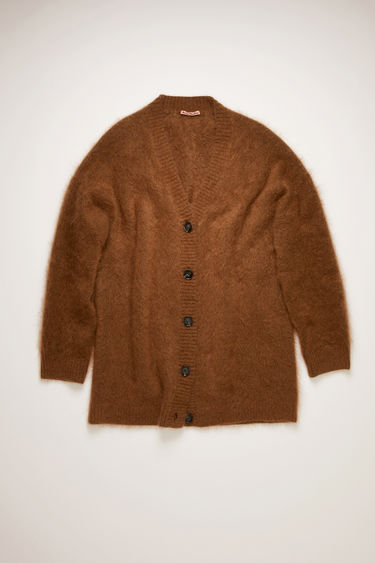 Acne Studios cinnamon brown melange cardigan is knitted from brushed wool and mohair-blend and shaped to an oversized silhouette that drapes just below the knees.