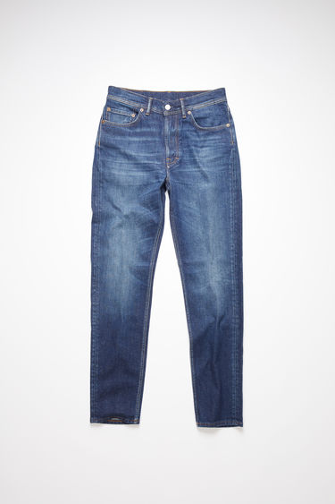Acne Studios dark blue jeans are made from comfort stretch denim with a high rise and a slim, tapered leg.