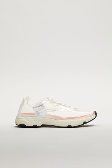 Acne Studios white transparent sneakers feature a combination of running and trail elements in one silhouette. They're crafted to low-top design with a lace-up front and features a logo woven flat insole.