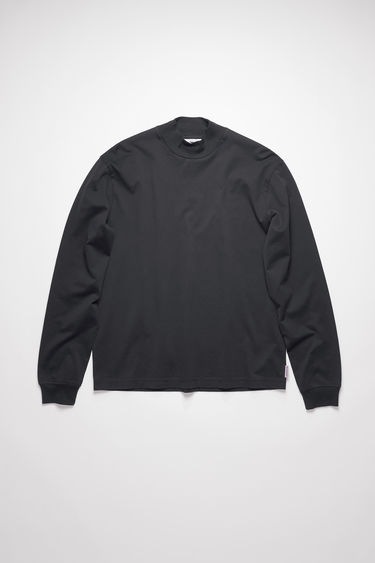 Acne Studios black t-shirt is crafted from organically grown cotton that's enzyme-washed for a soft handle and shaped to a relaxed fit with a ribbed mock neck and long sleeves.