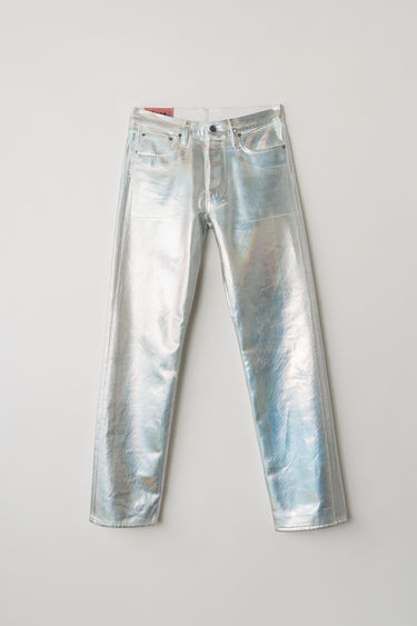 Acne Studios Blå Konst 1997 Holographic Foil jeans are cut to sit high on the waist with straight legs and finished with a holographic foil treatment.
