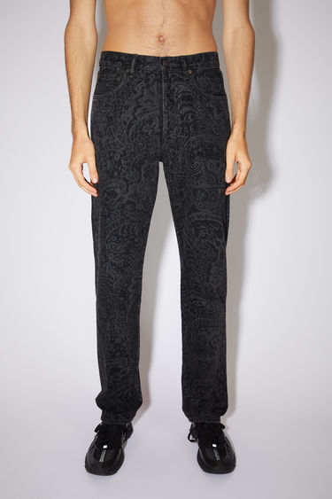 Acne Studios black jeans are made from from rigid denim with a high rise and a straight leg.