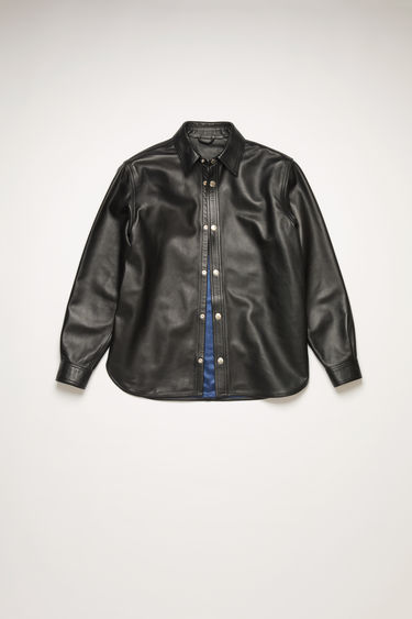 Acne Studios black overshirt is crafted from lamb leather and completed with a neat point collar and silver branded buttons.