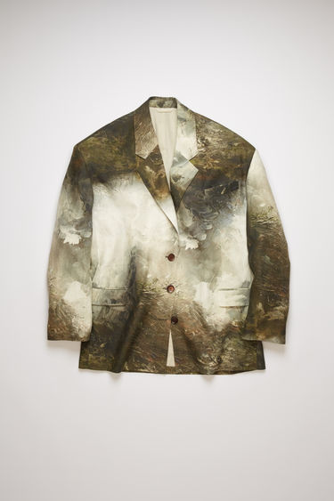 Acne Studios brown/white suit jacket is crafted from crinkled linen and features a painting of Swedish nature by August Strindberg. It's shaped to an oversized fit with a single-breasted buttoned front and dropped shoulder seams.