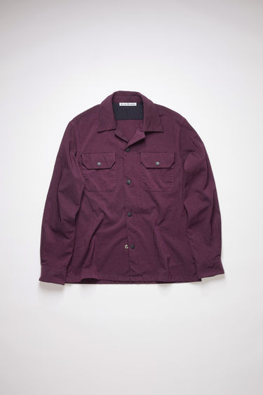 Acne Studios maroon red long sleeve shirt is made of nylon with a boxy fit.