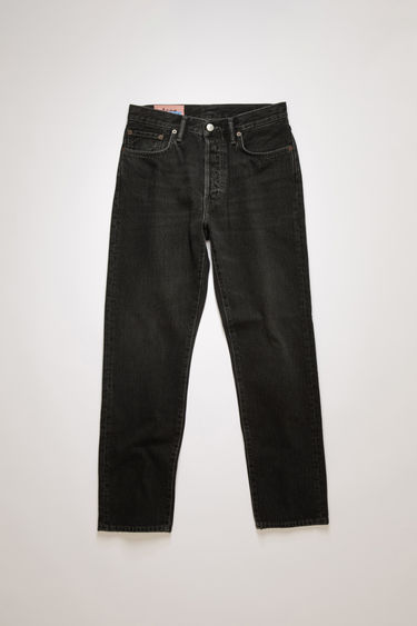 Acne Studios Blå Konst 1997 used black metal are classic fit, 5-pocket jeans with a regular length and high waist.