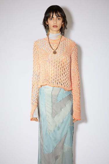 Acne Studios orange/white fishnet tunic is made of cotton.