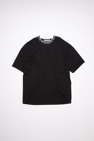 Acne Studios black t-shirt is made of a viscose blend with logo binding at the crew neck.